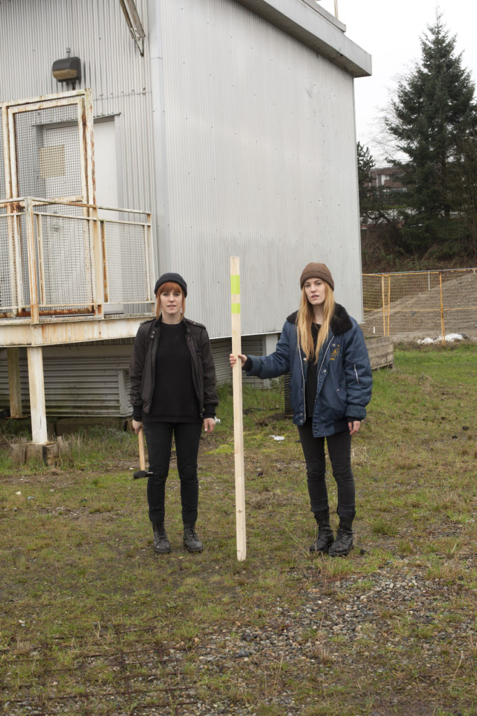 Rachel and Sarah Seburn. Re-Skinning Land Claim. 555 Great Northern Way, Vancouver, BC. February 2015.