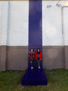 Rachel and Sarah Seburn standing in front of their spatial intervention. Community Project with Downtown Prince George.