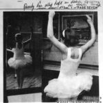 A newspaper clipping of Beverly Crowe  performing a Christmas dance routine, 1964. Photo (C) The Exploration Place.